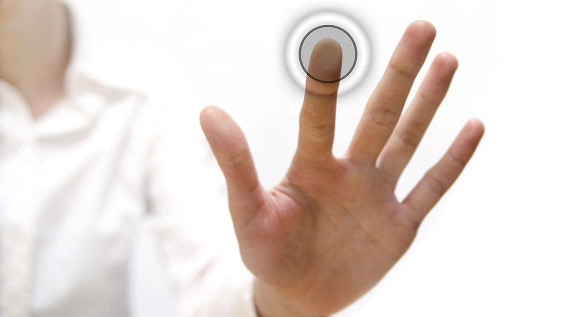 Image of a hand touching the user's screen
